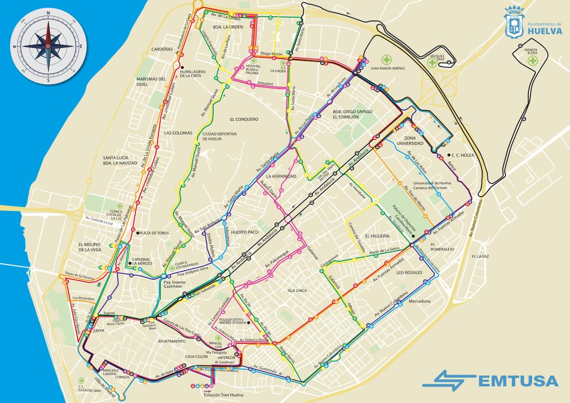 Mapa De Huelva Capital.Mapa General Emtusa Huelva